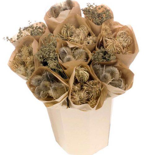 Flores Secas Bouquet Kraft chardon/ammi majus/gypsophila seed
